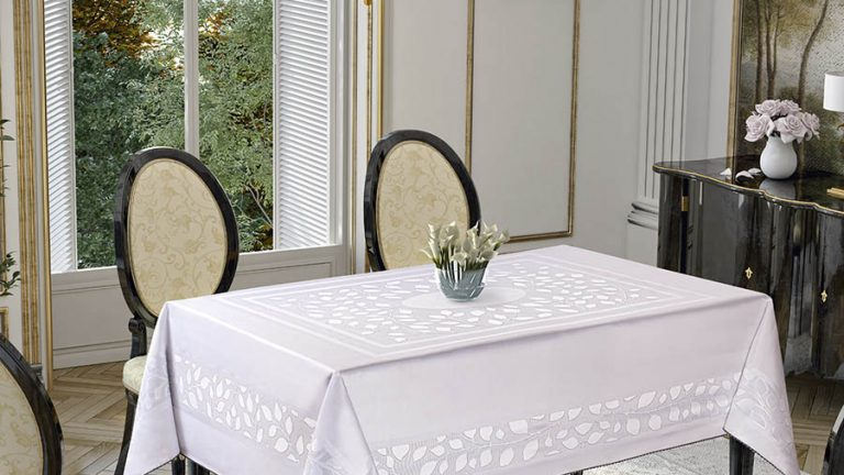 Jacquard Pano Collection Leaves Beyaz / White